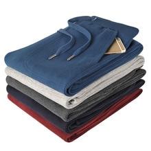 Hommes pantalons 2020 automne et printemps décontracté ample grande taille droite tricoté coton mâle pantalons longs noir bleu gris