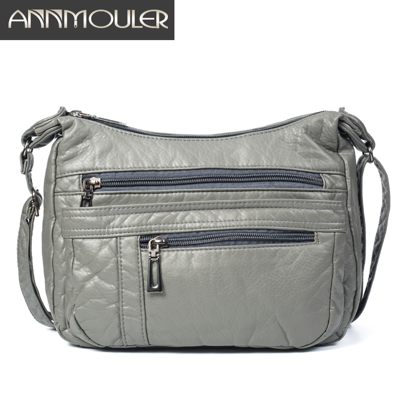Annmouler Designer Women Crossbody Bag Soft Pu Leather Shoulder Bag Good Quality Messenger Bag Small Size Purse Ladies Handbags