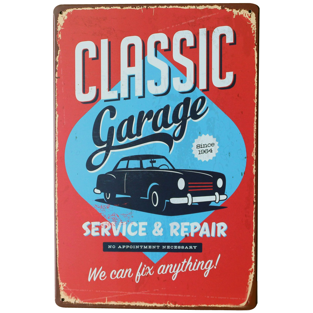 Car Old Garage Signs : Classic garage tin decor sign car metal plaque service and