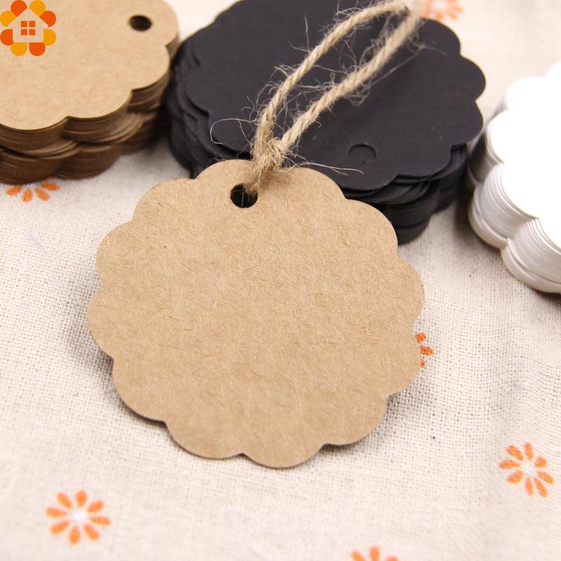 50PCS Round Laciness Paper Tags  Kraft Paper Card  Tags Labels DIY Scrapbooking  Crafts Hang Tags Christmas/Wedding Party Favors