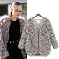 New 2016 Fake Lamb Fur Coat Overcoat Womens Faux Fur Jacket Winter Outerwear Fashion Warm