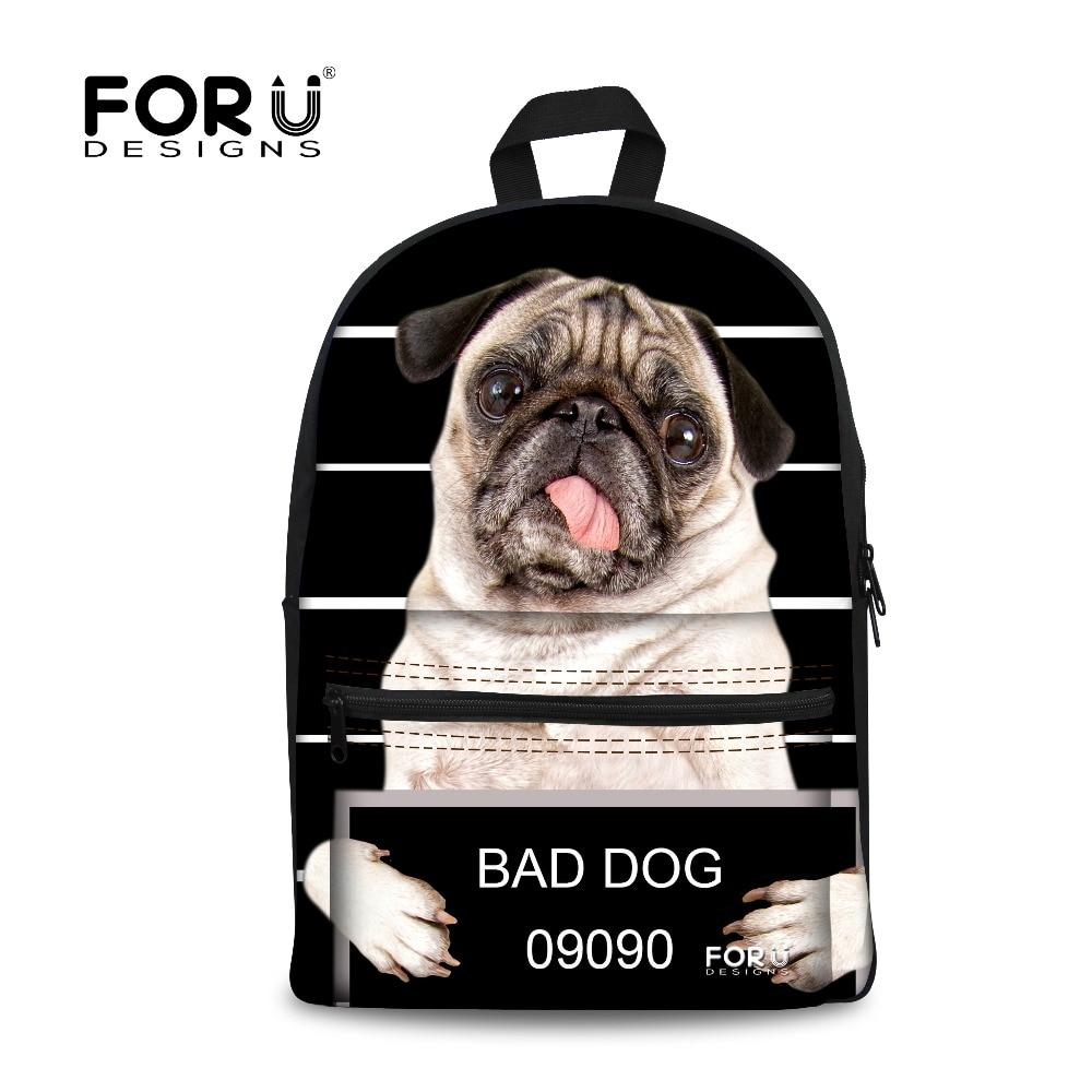 Fashion Boys Backbag 3D Animal Backpacks Cute Pug Dog Owl Tiger Horse School Backpack Students Children Casual Travel