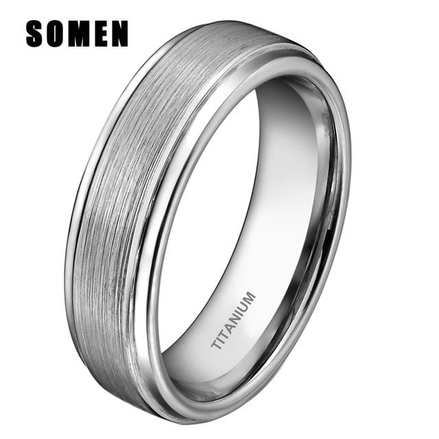 6MM Womens Silver Black Brushed Titanium Ring Engagement Rings Men