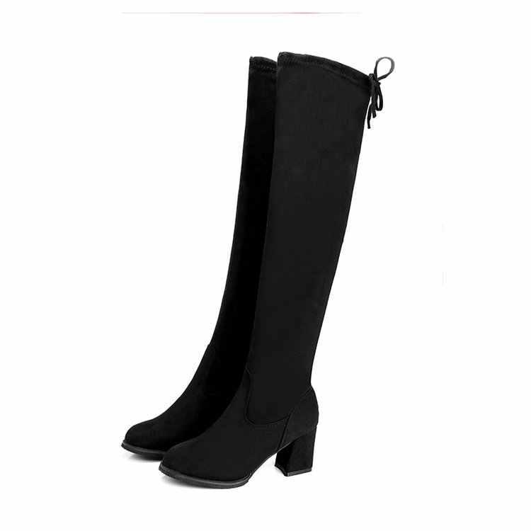 2019 Kadın Rahat Diz botları ayakkabı Kış kadın Kadın Yuvarlak Ayak Platformu yüksek topuklu pompalar Sıcak Kar Botları ayakkabı mujer