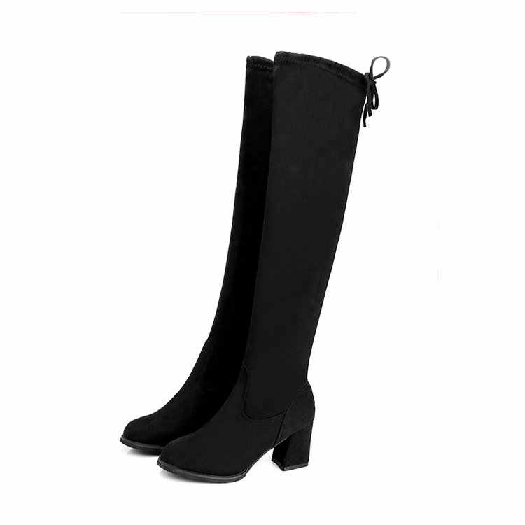 2019 г. Женские повседневные Сапоги выше колена зимние женские туфли-лодочки с круглым носком на платформе и высоком каблуке теплые зимние сапоги mujer