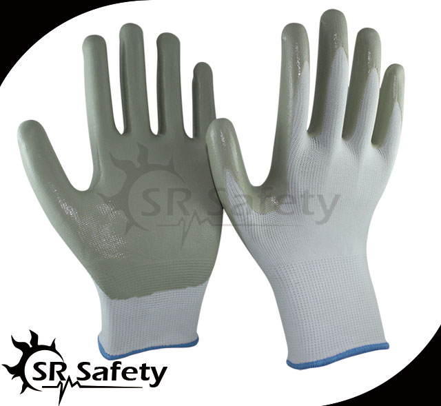 SRSAFETY 12 pairs 13g nylon Nitrile Coated Work Gloves