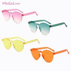 Snoep Kleur Zonnebril Transparante Shades Randloze zonnebril voor Vrouwen Mannen Festival Bril Verjaardagscadeau Zwembad Feestartikelen