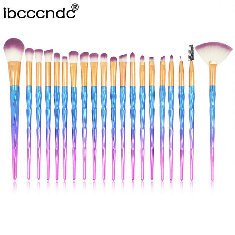 Makeup-Brushes-Set Eyeshadow Rainbow-Color Concealer Blush-Powder Unicorn 20pcs/Set