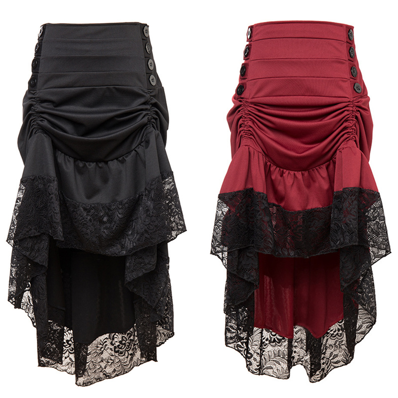 Ruffle Asymmetric Vintage Victorian Skirts Plus Size Woman's Autumn Winter High Low Irregular Gothic Steampunk Party Skirts