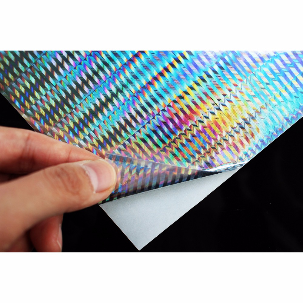 Tigofly 6 pcs 10X21cm Holographic Adhesive Film Flash Vertical Pattern Artificial Fish Skin Jig Sticker Hard Baits Lures sticker 5sheets pack 10cm x 5cm holographic adhesive film fly tying laser rainbow materials sticker film flash tape for fly lure fishing