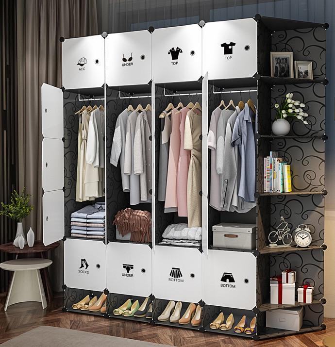 Us 950 5 Offblack White Pp Plastic Clothes Wardrobes Metal Cloth Closet Jacket Cabinet Organizer Storage Bedroom Wardrobe Furniture B500 In