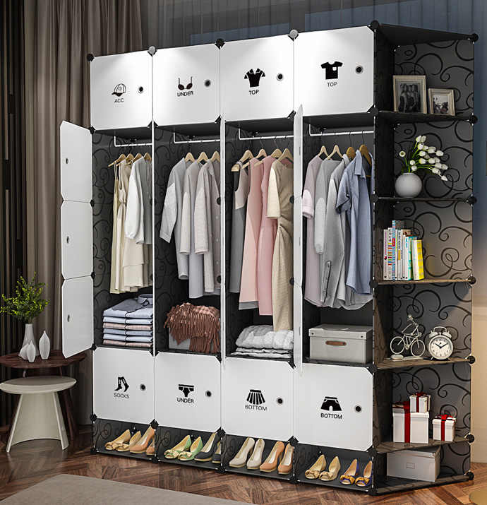 Black White PP Plastic Clothes Wardrobes Metal Cloth Closet ...