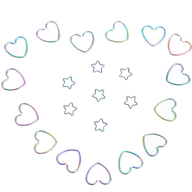 Heart Star Shape Stainless Steel Earrings Nose Lip Tragus Nipple Anodized Seamless Cartilage Hoop Ring Piercing Body Jewelry