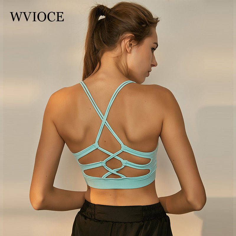 Sexy Yoga Bra Women Sports Fitness Bras Backless Cross Strap Tank Top Shockproof Padded Vest Running Workout Gym Athletic Tops