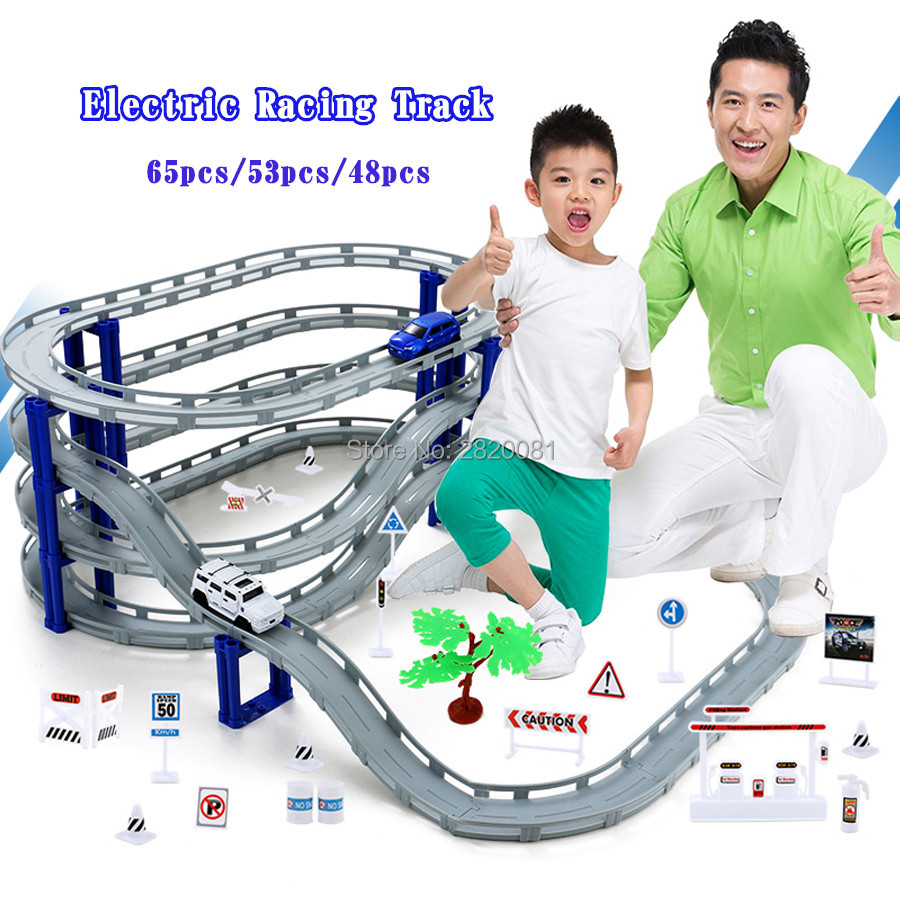 Electronic racing rail car track DIY assembly Overpass model track 3styles,Railway road transportation slot toy for kid gift