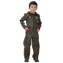 Kids Child Special Forces Air Force Costumes Uniform for Boys Pilot Airman Flight Suit Costume Halloween Purim Carnival Jumpsuit