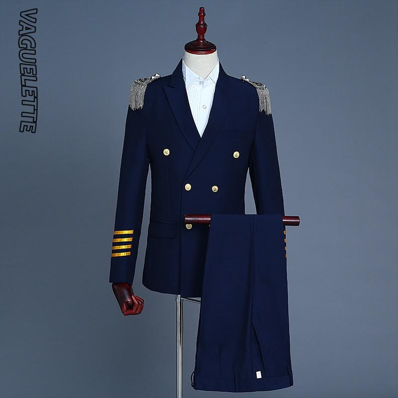 VAGUELETTE Double Breasted Pilot Suit Men Navy Blue/ White Tuxedo Wedding Mens Suits With Pants Airplane Captain Stage Wear 2XL