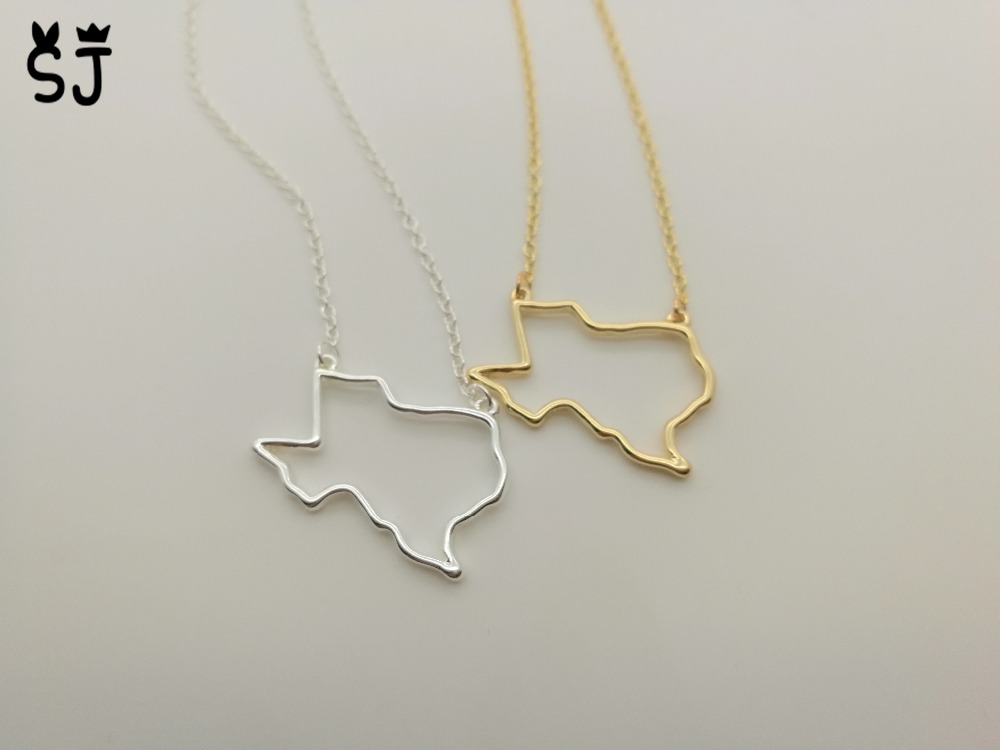 1PCS Outline Texas State Necklace American Map Necklace Charm USA TX State Necklace Simp ...