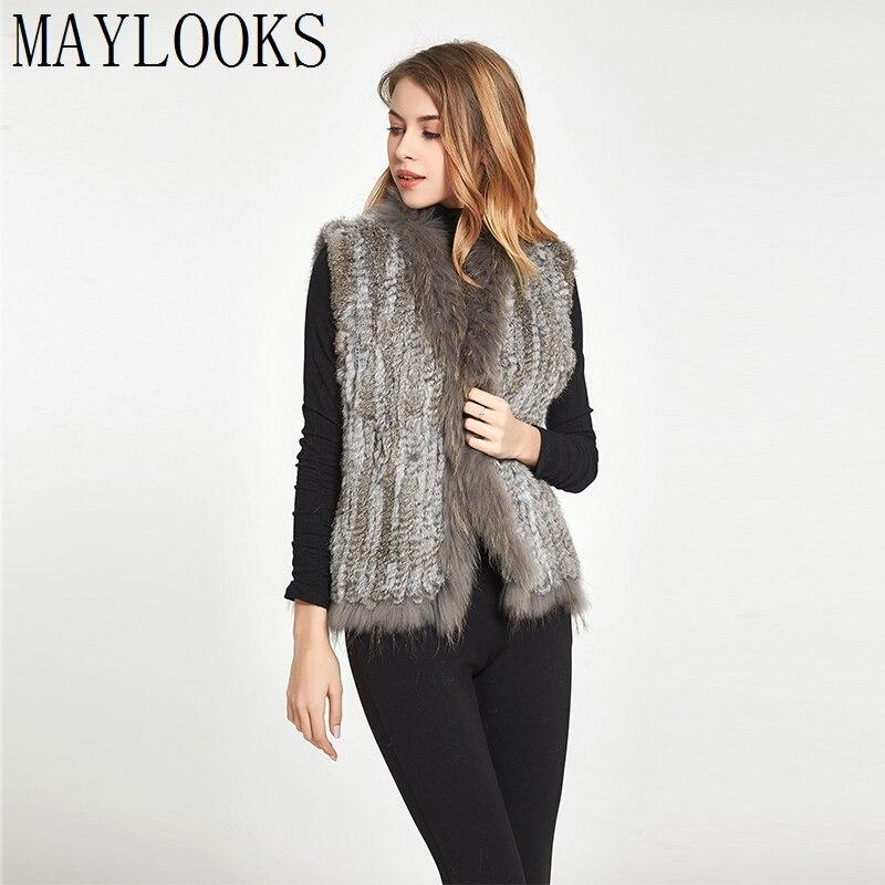 2018 Maylooks Women Original Natural Real Rabbit Fur Pletené Vesty / vesty / vesty / kabáty / kabáty se střapci Mýval Tasso Cs95