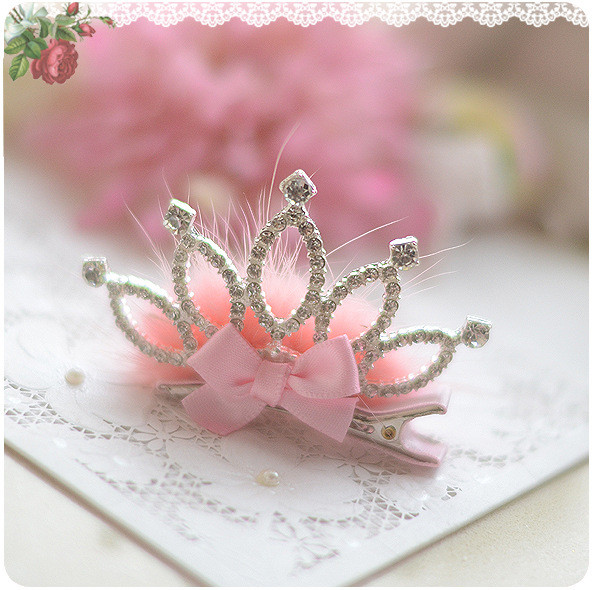 Shine Crown Rhinestone Gross Pink White Faux Fur Bow Hairpin Children Girl Hair Accessories Clip Kids Headwear kk1014 8 pieces children hair clip headwear cartoon headband korea girl iron head band women child hairpin elastic accessories haar pin