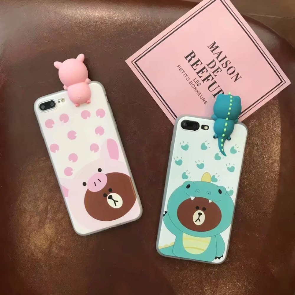 For OPPO F5 Cartoon Cute Case Pink Pig Brown Bear Crocodile Brown Bear Novelty Adorable 3D DOLL TPU Soft Case For OPPO F5