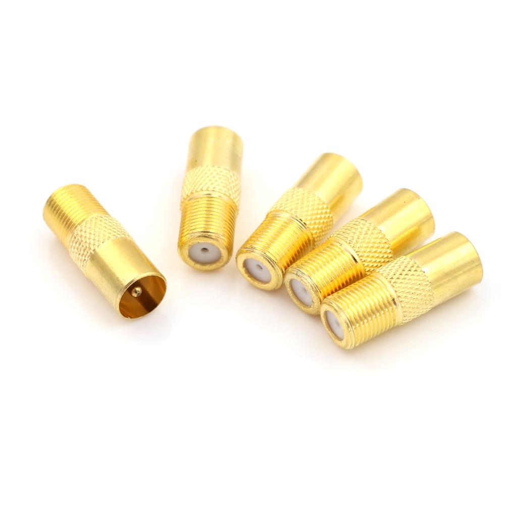 5PCS Coaxial Coax RF Adapter Connectors TV PAL Male Plug To