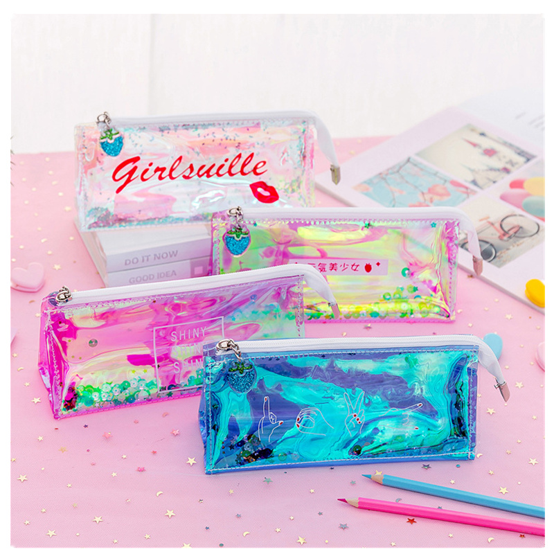 Clear PVC Cute Pencil Case Kawaii Transparent Sequin School Pen Pencilcase Gift Supplies Stationery Women Office Cosmetic Bags