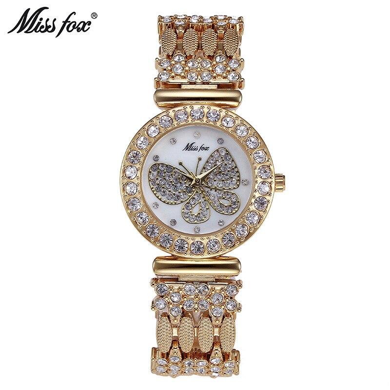 Mlle fox 2030 femmes montres dames de quartz montre femme Montres top marque de luxe rose or horloge papillon relogio feminino