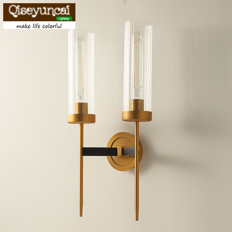 Qiseyuncai American Living Room Wall Lamp Restaurant Study Room Bedroom Simple Postmodern Sample House Villa Light free shipping qiseyuncai american children s room england soldier legion wall lamp boy girl bedroom lighting free shipping