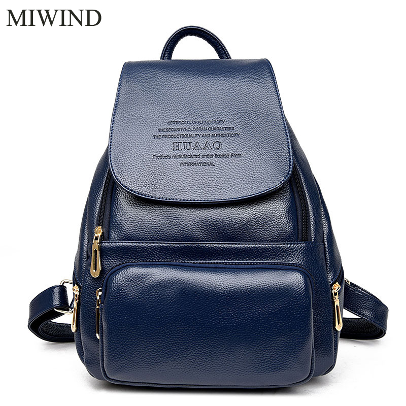 2017 MIWIND Women Backpack Genuine Leather Backpacks Softback Bags Brand Name Bag Cow Leather Backpacks Girls Backpack WUB095 cardamom genuine leather backpacks cow leather famous brand women s bags girls fashion bag travel bags students backpack