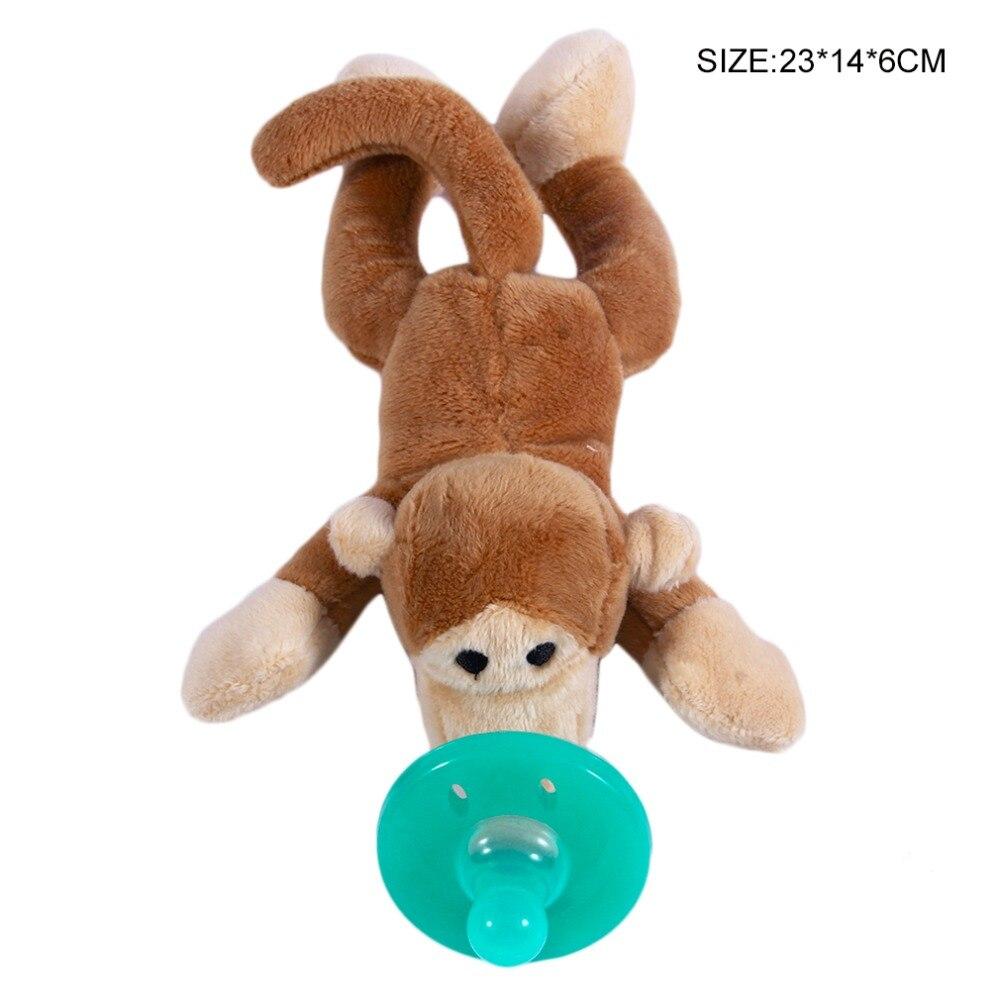 Милая Детская плюшевая игрушка, соска для новорожденных мальчиков и девочек, мультяшная Соска-пустышка Силиконовая пустышка, соска, аксессуары для кормления - Цвет: monkey