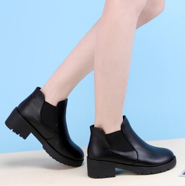 HUANQIU Yeni Sıcak Tarzı Moda Kadın Botları Kalın Alt Pu Deri Su Geçirmez Kadın Çizmeler Ayak Bileği Bahar/sonbahar ZLL424
