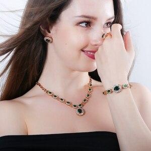 Image 5 - 4 ピース高級ライトイエローゴールド色インドウェディングパーティージュエリーセットパープルキュービックジルコニアブライダルアクセサリー女性のための T230