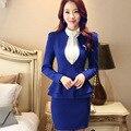 Mulheres ruffles skirt suits 2016 Nova Outono carreira OL blazer & saia 2 peça define escritório terno de negócio do revestimento do Revestimento plus size S-3XL