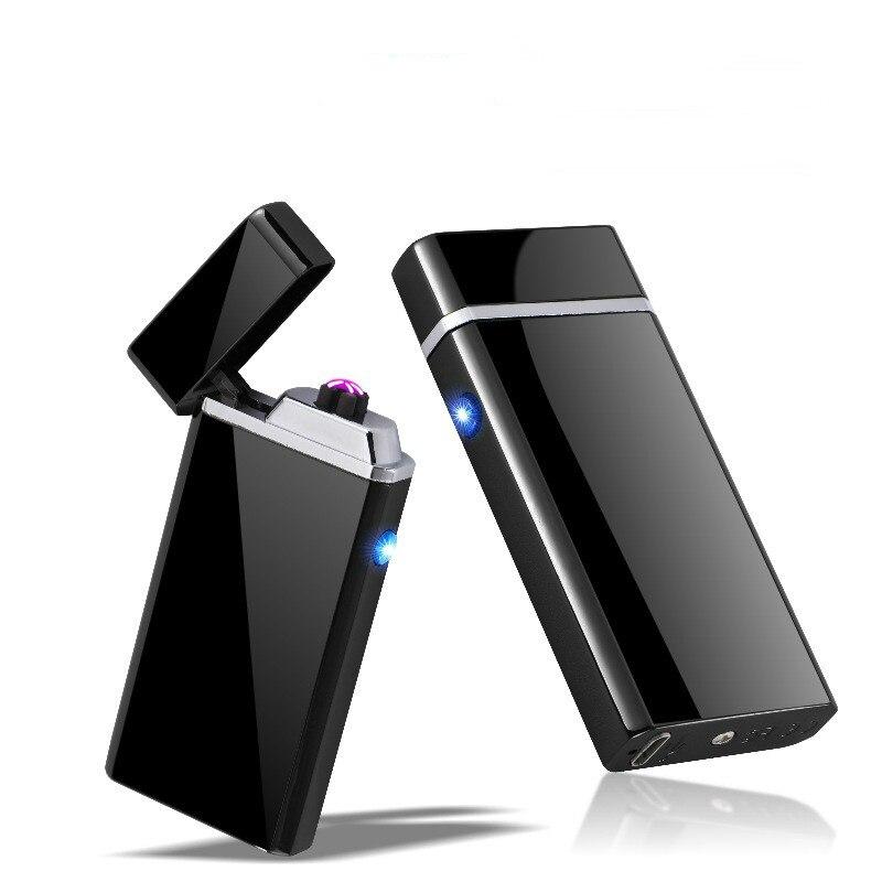 Новый USB Перезаряжаемые дуги плазменный ветрозащитный прикуривателя без газа Двойной своих Arc металла сигарет курения сигар Зажигалки