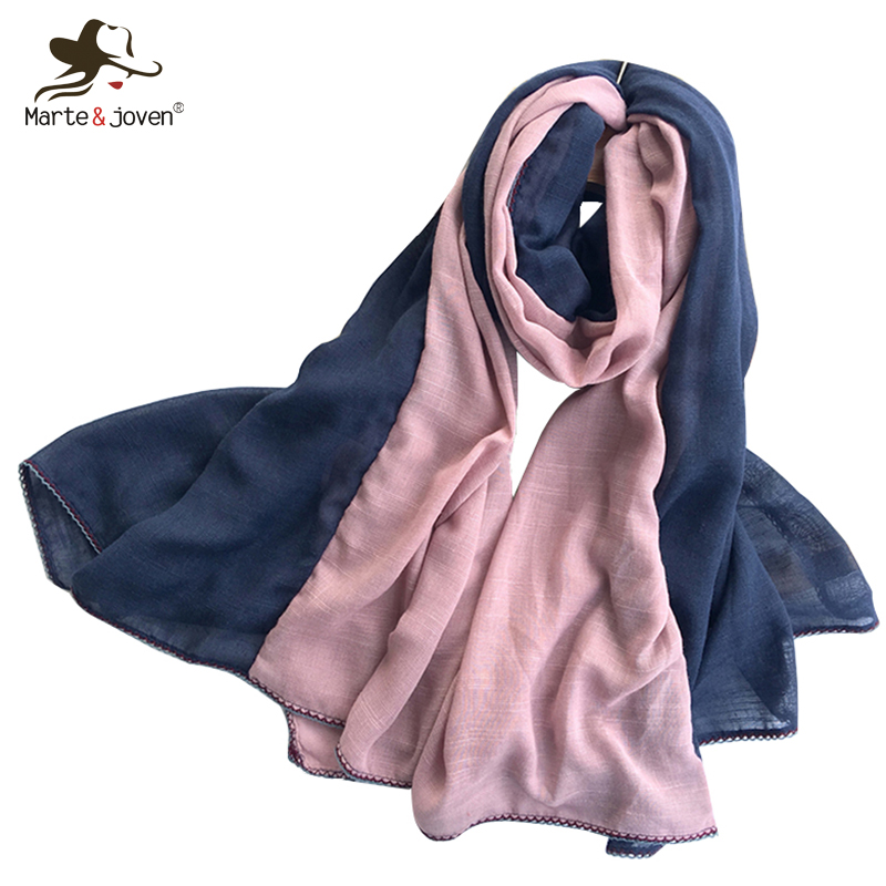 Marte&Joven Fashion Two-color Patchwork   Scarf     Wraps   for Women Oversized Soft Autumn/Winter Warm Shawls Tippet Ladies Bufanda