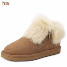INOE fashion genuine sheepskin leather suede women rabbit fur winter short ankle snow boots for girls winter shoes with zipper