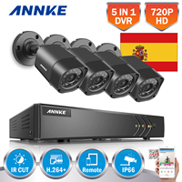 Clearance Sale For Spain ANNKE 4CH 720P HD TVI DVR CCTV Security System 720P Outdoor Bullet