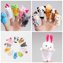 Lovely Cute 10Pcs a Set Baby Children Kids Plush Finger Animal Biological Puppets Play Learn Story Telling Tale Toys Dolls Hot 10pcs finger puppets set cartoon animal baby kids dolls props