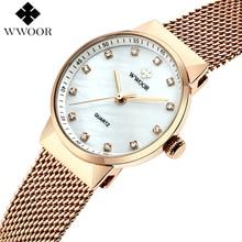 WWOOR Slim Rose golD Mesh Stainless Steel Watches Women Watch Top Brand Luxury Casual Clock Ladies Wrist Watch montre femme