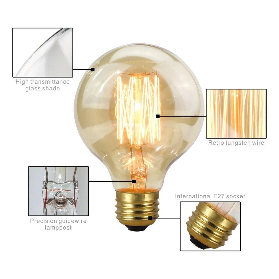 Купить с кэшбэком Retro Edison Light Bulb E27 220V 40W A19 A60 T10 T45 T185 ST64 G80 G95 Filament Vintage Ampoule Incandescent Bulb Edison Lamp