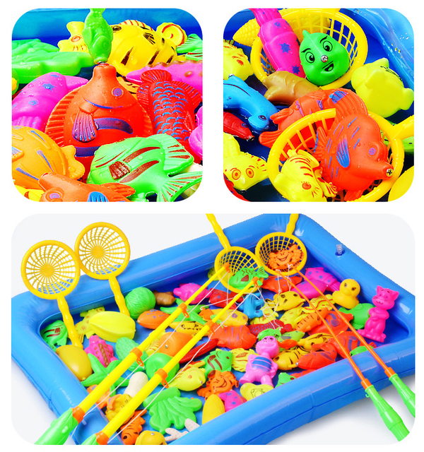 Children Boy girl fishing toy set suit magnetic play water baby toys fish square hot gift for kids Free Shipping GYH 2