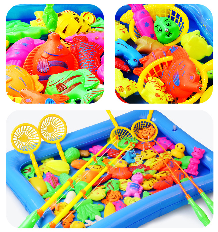 Children Boy girl fishing toy set suit magnetic play water baby toys fish