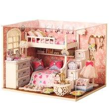 цена на Handmade Doll House Furniture Miniatura Diy Doll Houses Miniature Dollhouse Wooden Toys For Children Grownups Birthday Gift H06
