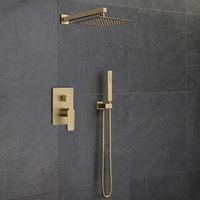 Bathroom Shower Faucet Set Total Brass In Wall Shower Faucet Hot and Cold Bath Shower Mixer Tap Brushed Gold Matte Bidet Faucet