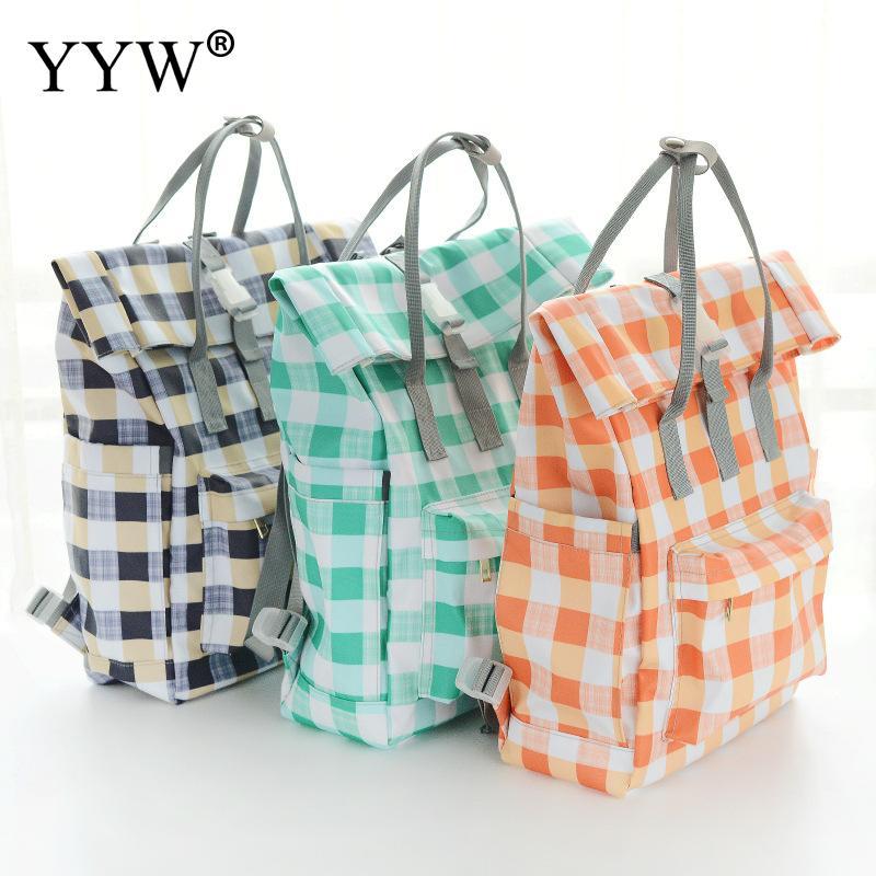 Fashion Orange Plaid Nylon Backpack Female Dark Blue Backpacks for Women Rectangular Casual Bag with Soft Handle