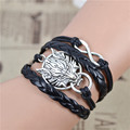 Jiayiqi Handmade Infinity Wolf Black Weave Leather Wax Rope Bracelet Best Friendship Gift  IB516