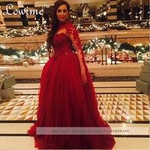 Westlichen Kleid Appliques Long Sleeves Ballkleider Formale Kleid Abend Party Rot Abendkleider Lange Perlen Arabisch Robe De Soiree