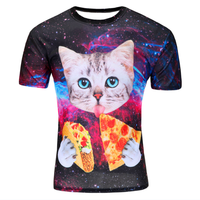 Summer 2016 Fashion Mens T Shirts Men Latest Pizza Cat 3D Printing Tees Kinds New Style