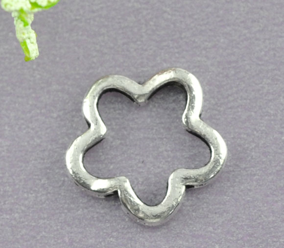 50 Silver Tone Flower Bead Frames 16mm Findings Enthusiastic Doreen Box Hot b07786